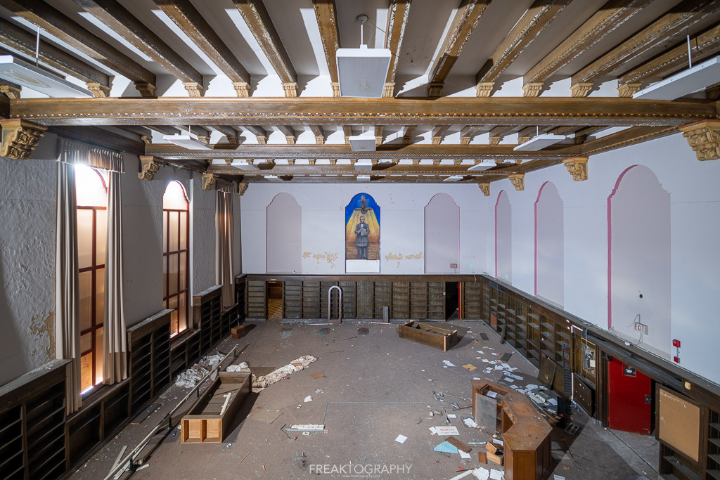 abandoned detroit cooley high school library back