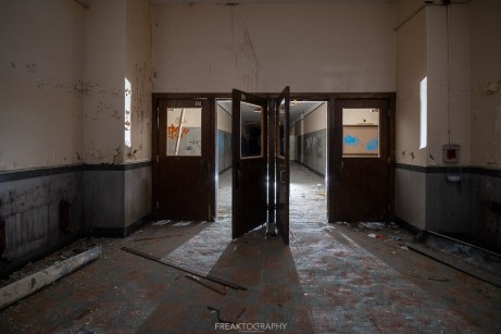 abandoned detroit cooley high school hallwa