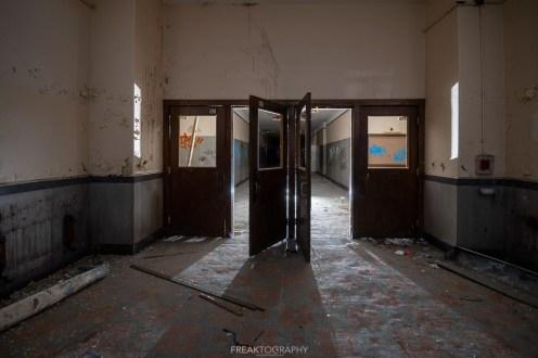 abandoned detroit cooley high school hallwa
