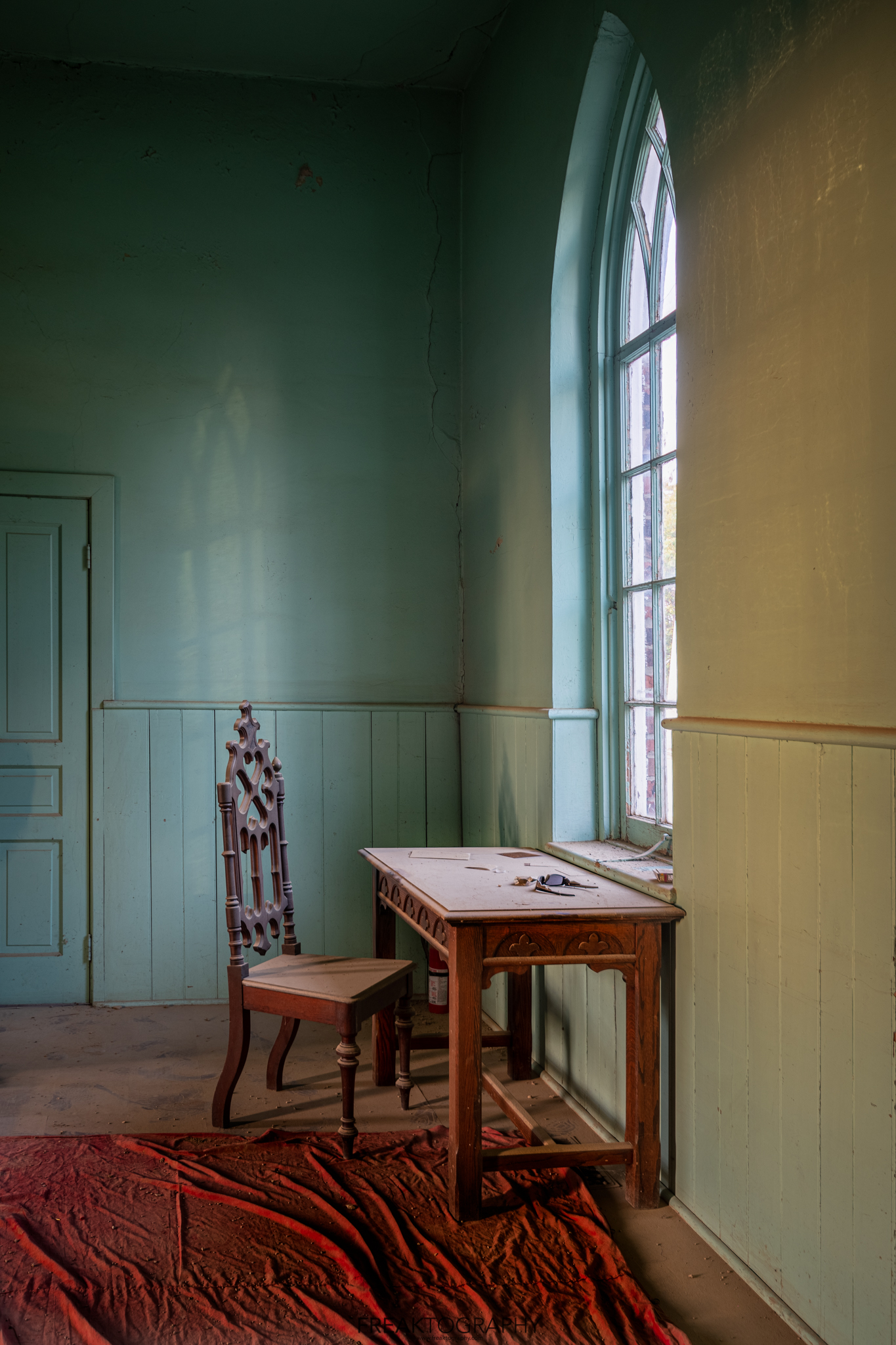 Abandoned Ontario Church Window and Desk