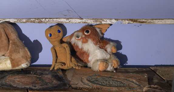 ET and Gizmo in abandoned time capsule cabin.
