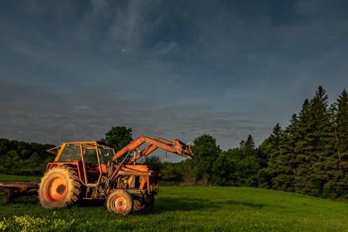 abandoned tractor full moon lume cube balaclava