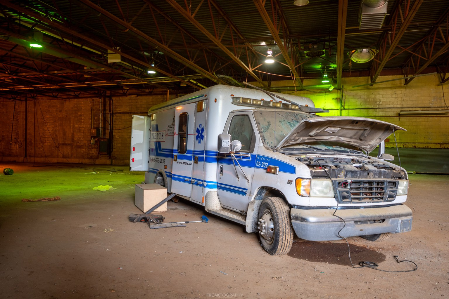 abandoned ambulance and patient transfer station