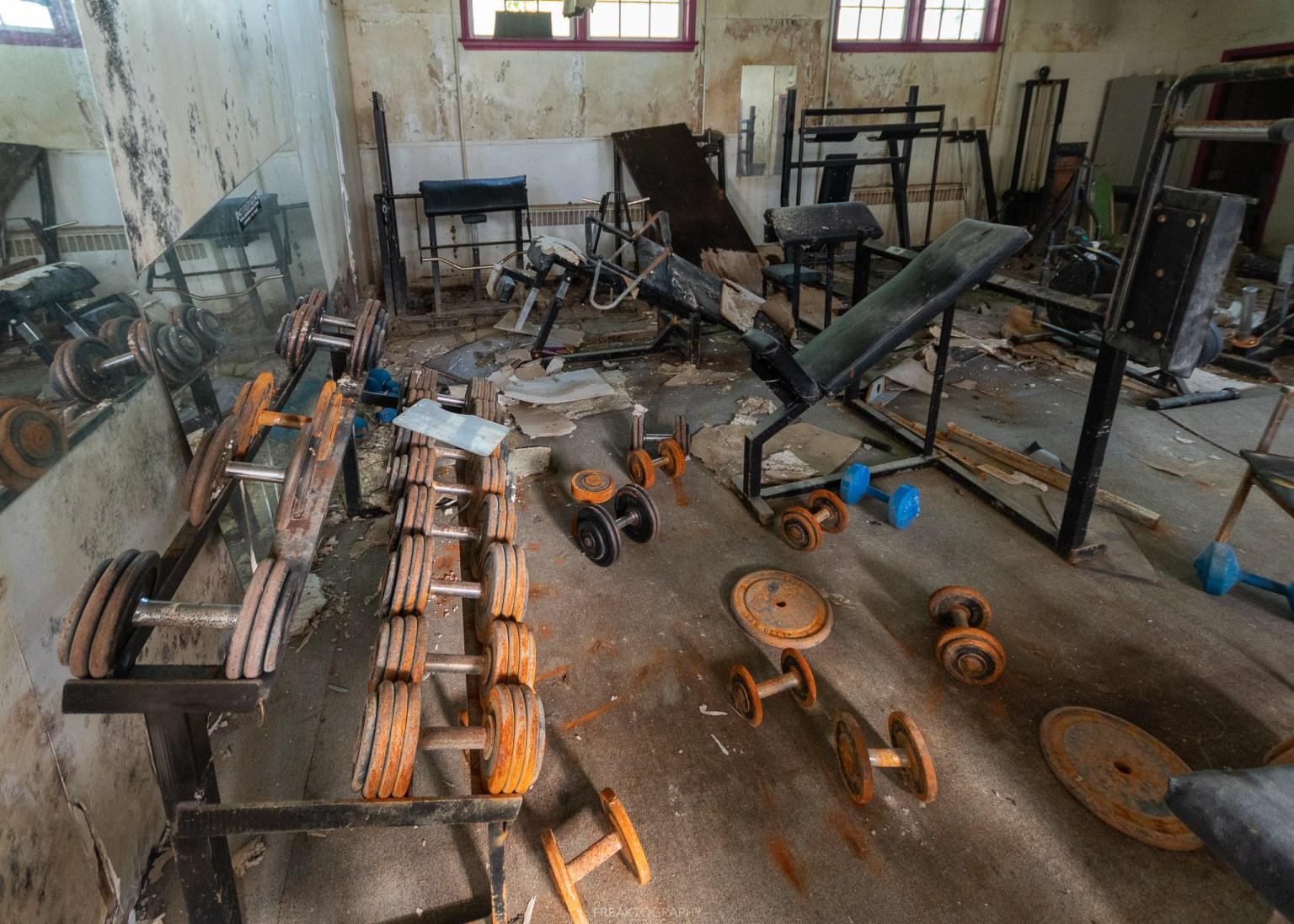 abandoned church and abandoned gym