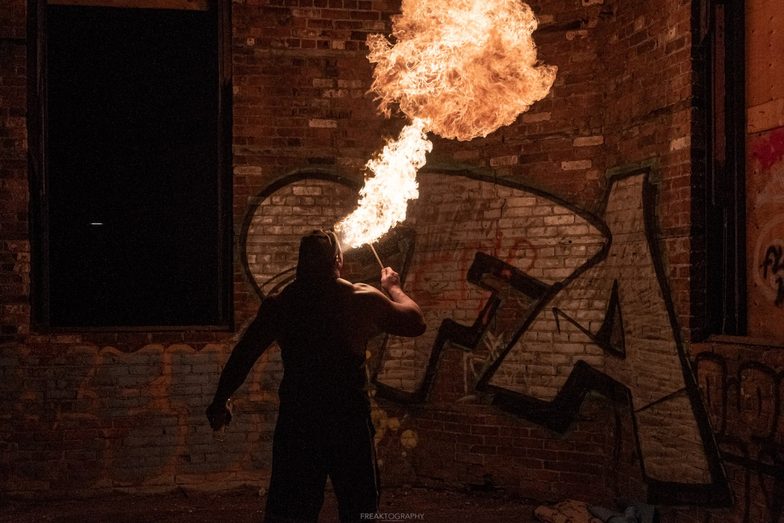 abandoned factory fire breathing photography