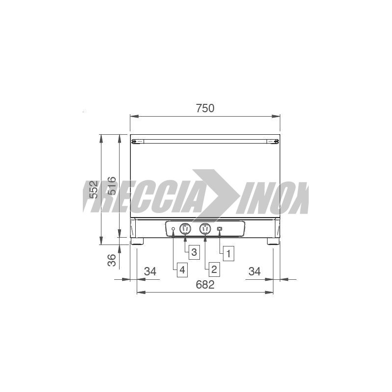 Forno 4 teglie GN 1/1 oppure 60 x 40 serie manual kw 3,4