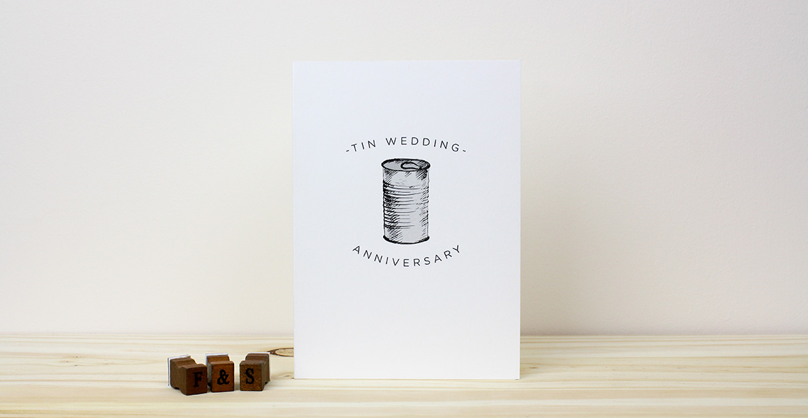 Tin Wedding Anniversary Card  Freckle  Specs