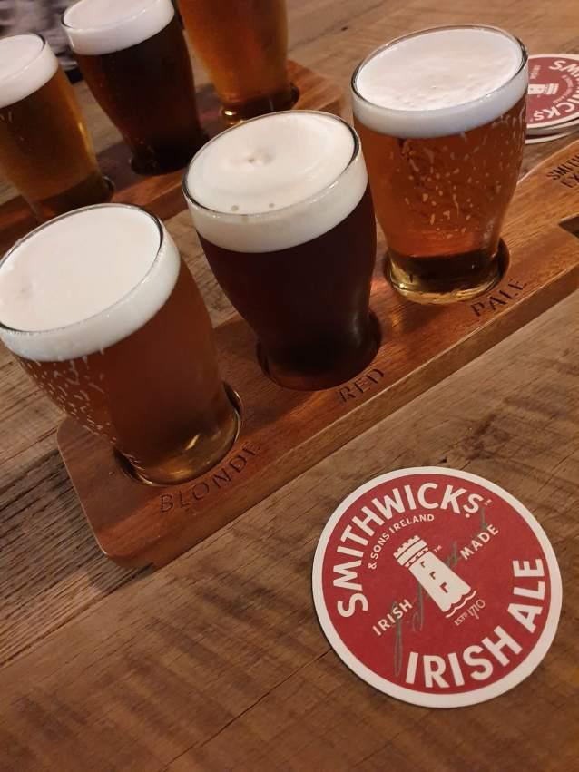 A flight of ales at the Smithwick's Experience in Kilkenny, Ireland.