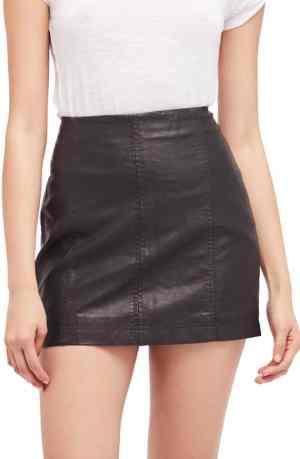 Black faux leather mini