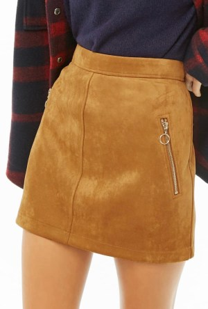 Tan faux suede skirt
