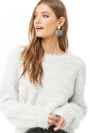 Fuzzy gray popcorn knit