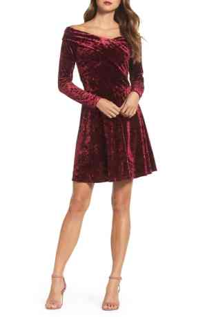 Maroon velvet dress
