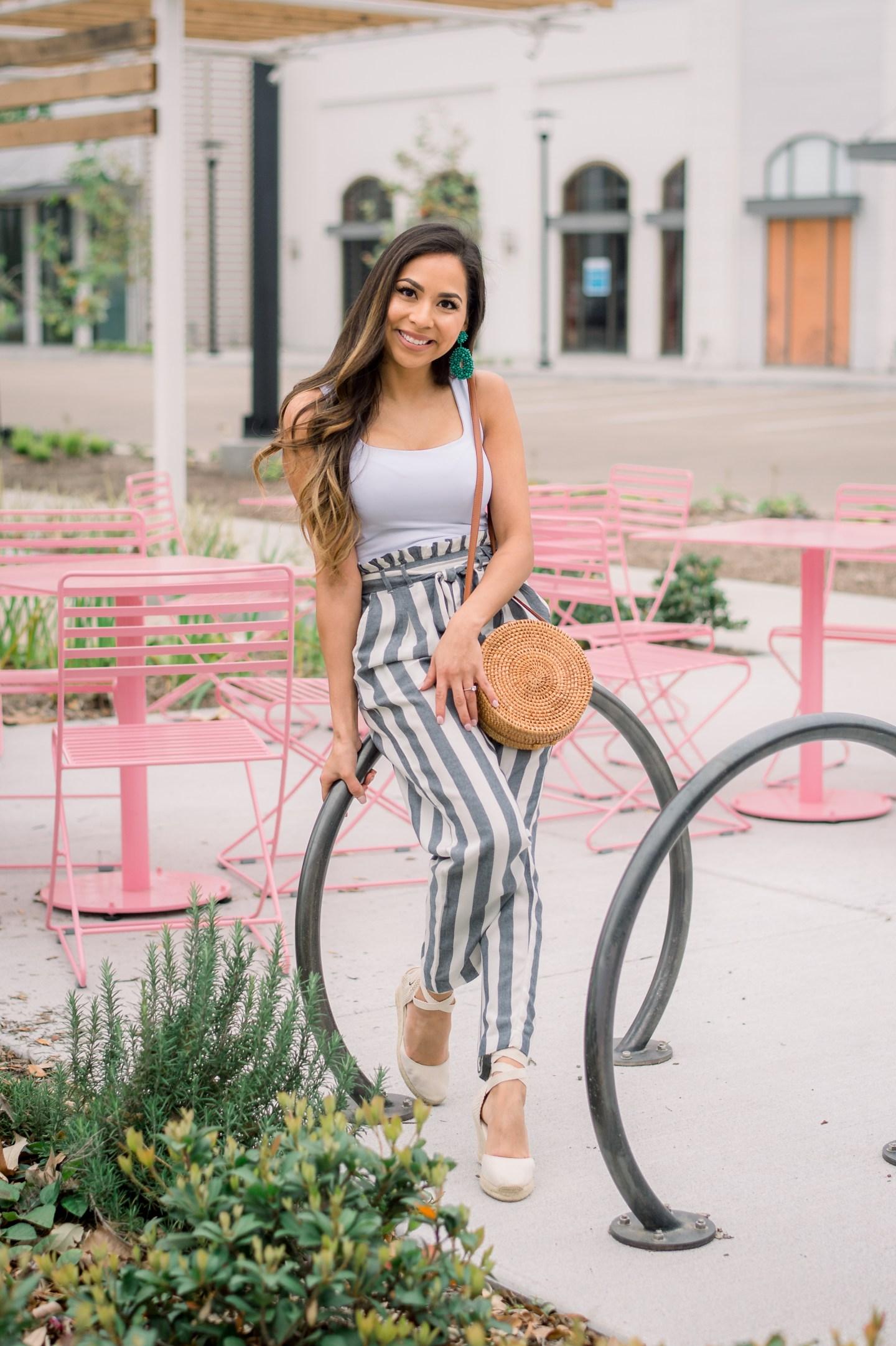 Striped paper-bag  pants