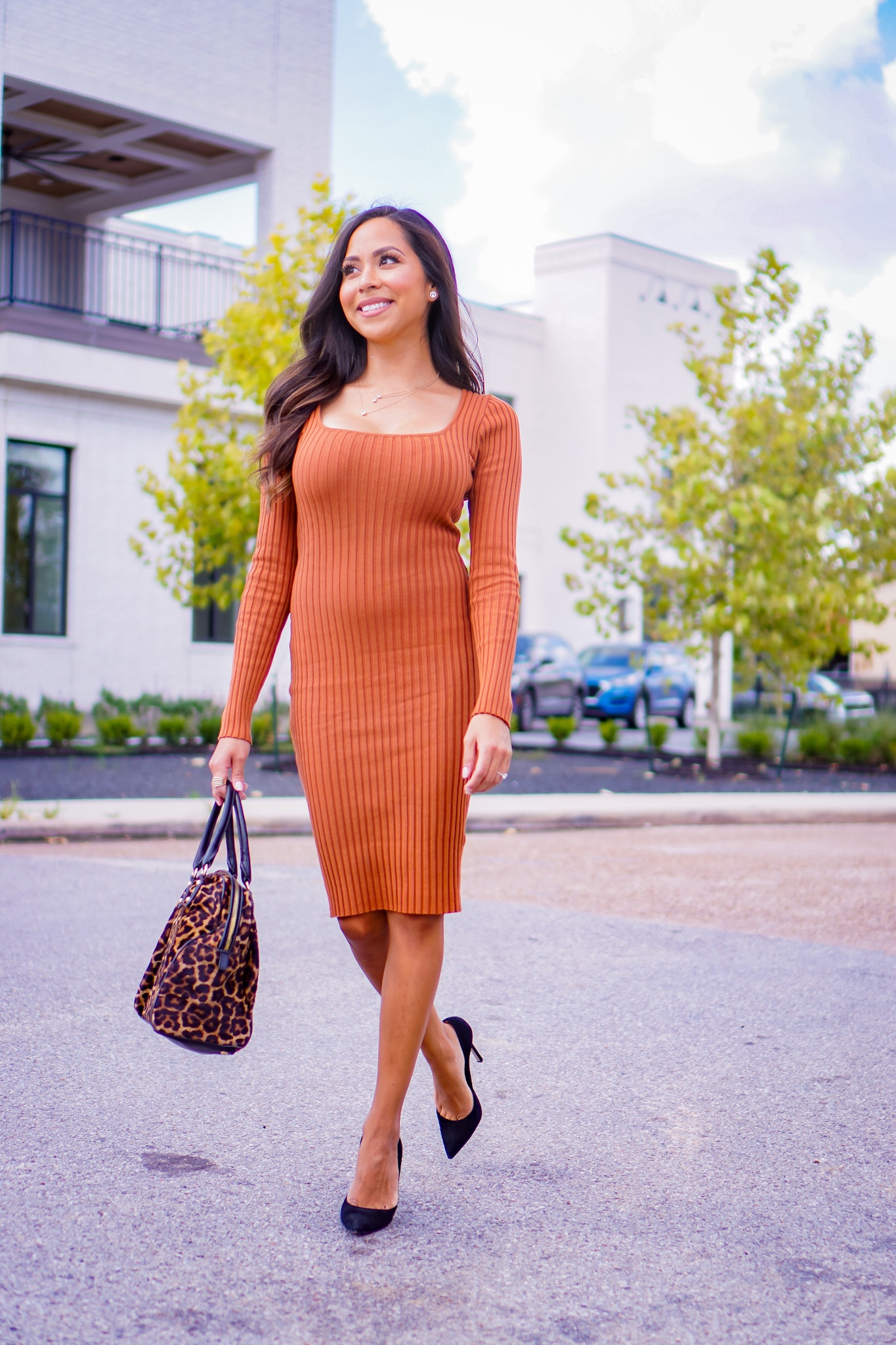 A rust colored dress is perfect for fall