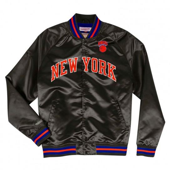 Blouson Satin Mitchel & Ness Knicks noir rouge