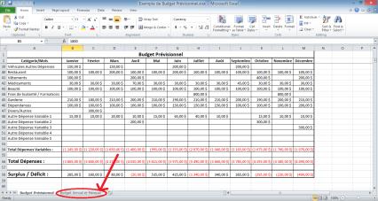 2e onglet du budget prévisionnel