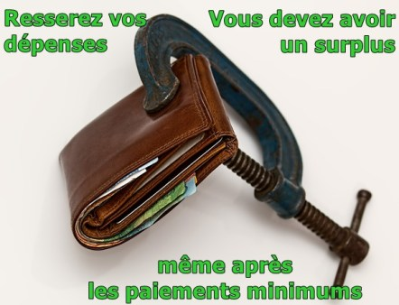 Resserez vos dépenses, vous devez avoir un surplus en plus des paiements minimums