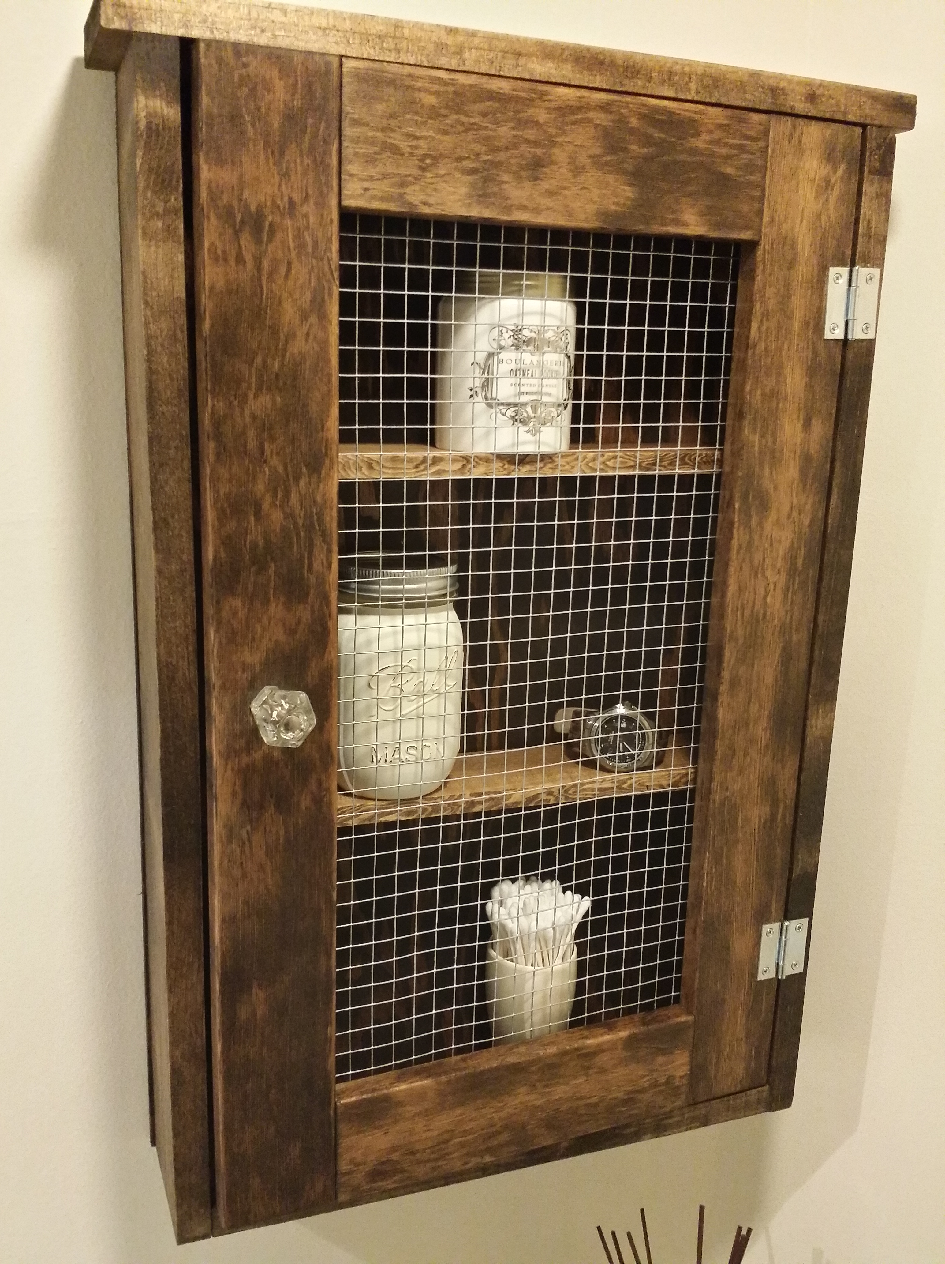 Rustic Bathroom Wall Cabinets Chicken Wire Cabinet Freddie And Me