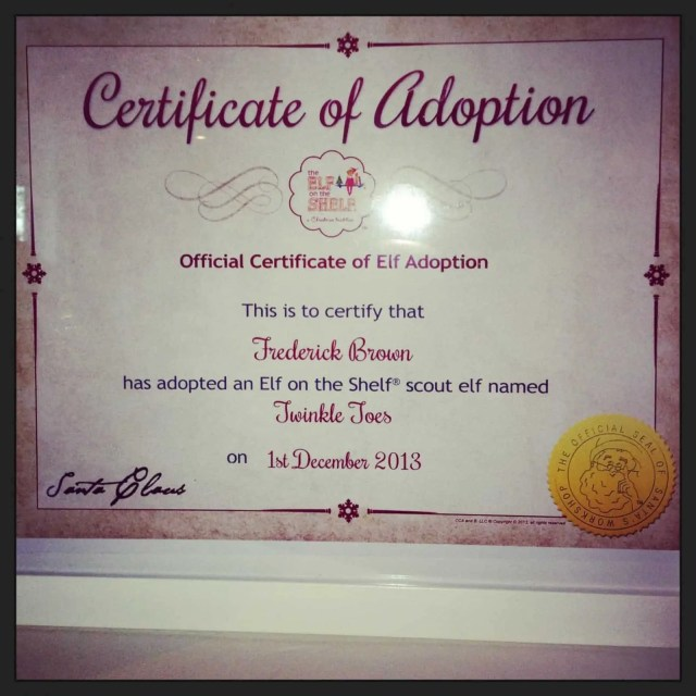 Certificate of Adoption for Elf on the Shelf