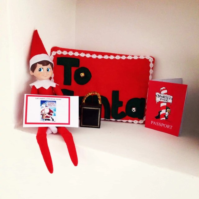 Elf on the Shelf leaving notes to watch a Christmas movie - elf on the shelf ideas for kids