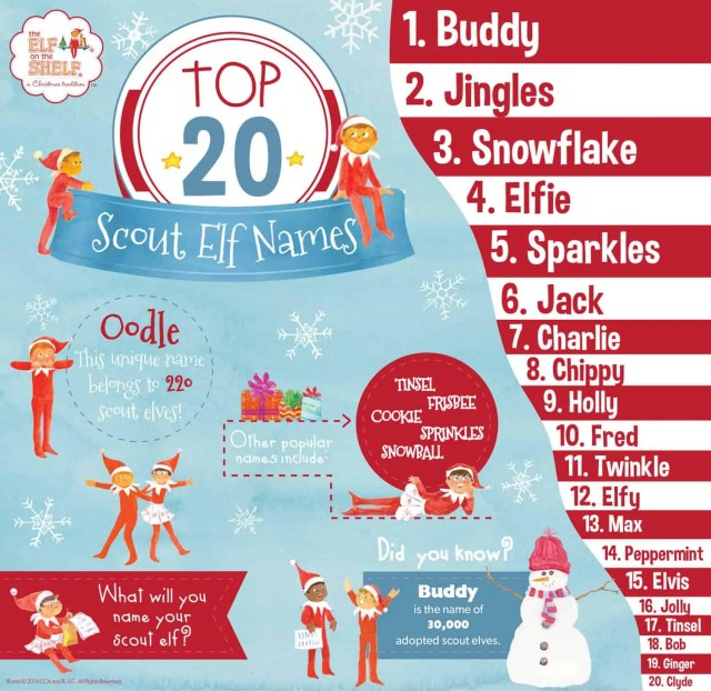 Top 20 names elf on the shelf