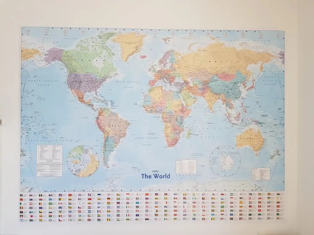 World Map home schooling office