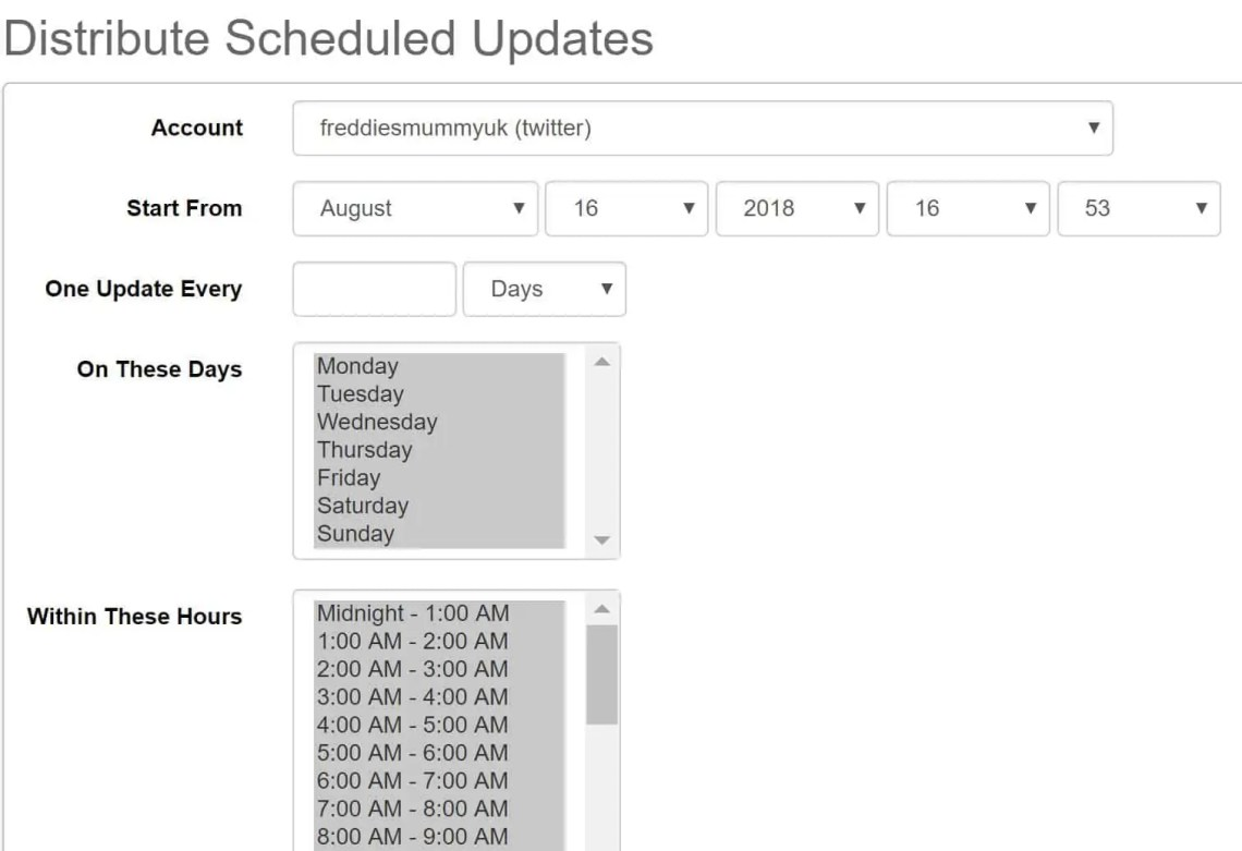 social oomph Distribute Scheduled Updates