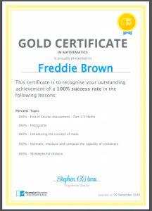 Exemplar Education Gold Certificate