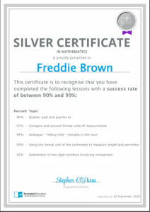 Exemplar Education Silver Certificate