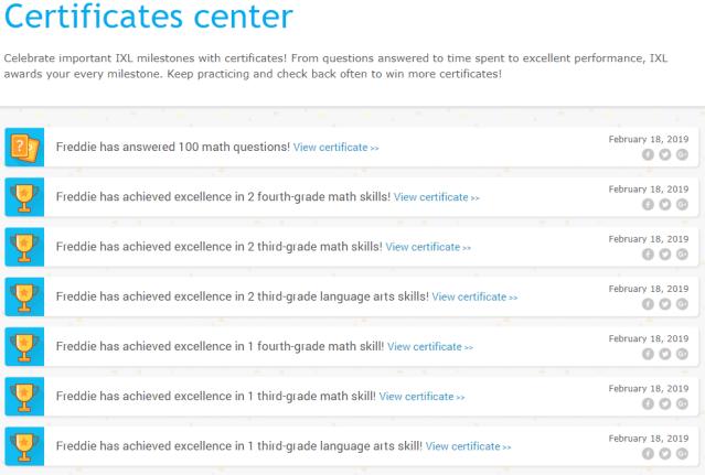 IXL Certificates Centre