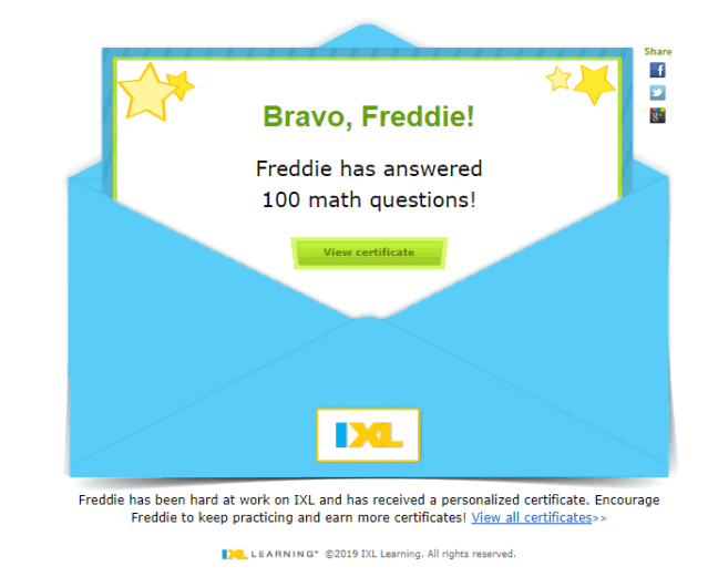 ixl learning certificate notification