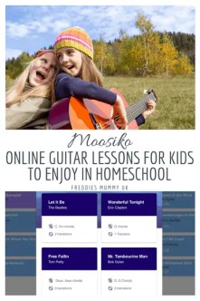 Moosiko - Online Guitar Lessons for kids to enjoy in homeschool #guitar #guitarlessons #homeschool #learningmusic #music #musicalinstruments
