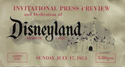 Disneyland opening day ticket for Sunday, July 17, 1955. This ticket belongs to Disney Legend, Tom Nabbe.