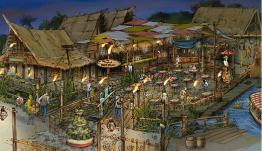 Disneyland concept art for the Tropical Hideaway. Image copyright belongs to Disney. Shared with good faith to help promote their business and creativity.