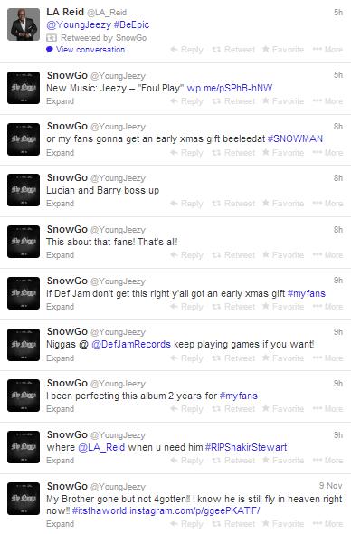Young Jeezy Def Jam Beef Tweets