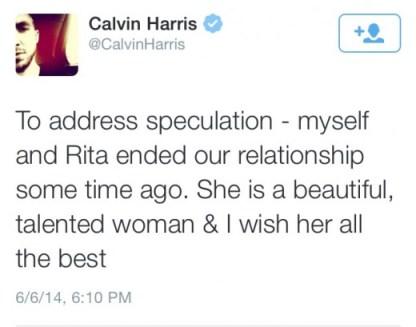 Calvin Harris confirms breakup with Rita Ora