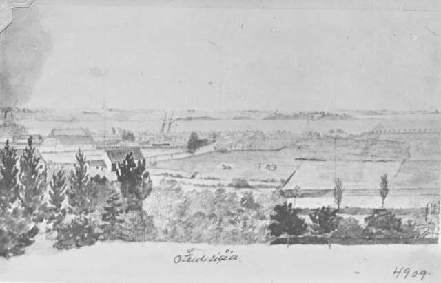 Udsigt fra Bella Vista mod syd, avarel ca. 1830-1840, fra Fredericia Museums samlinger