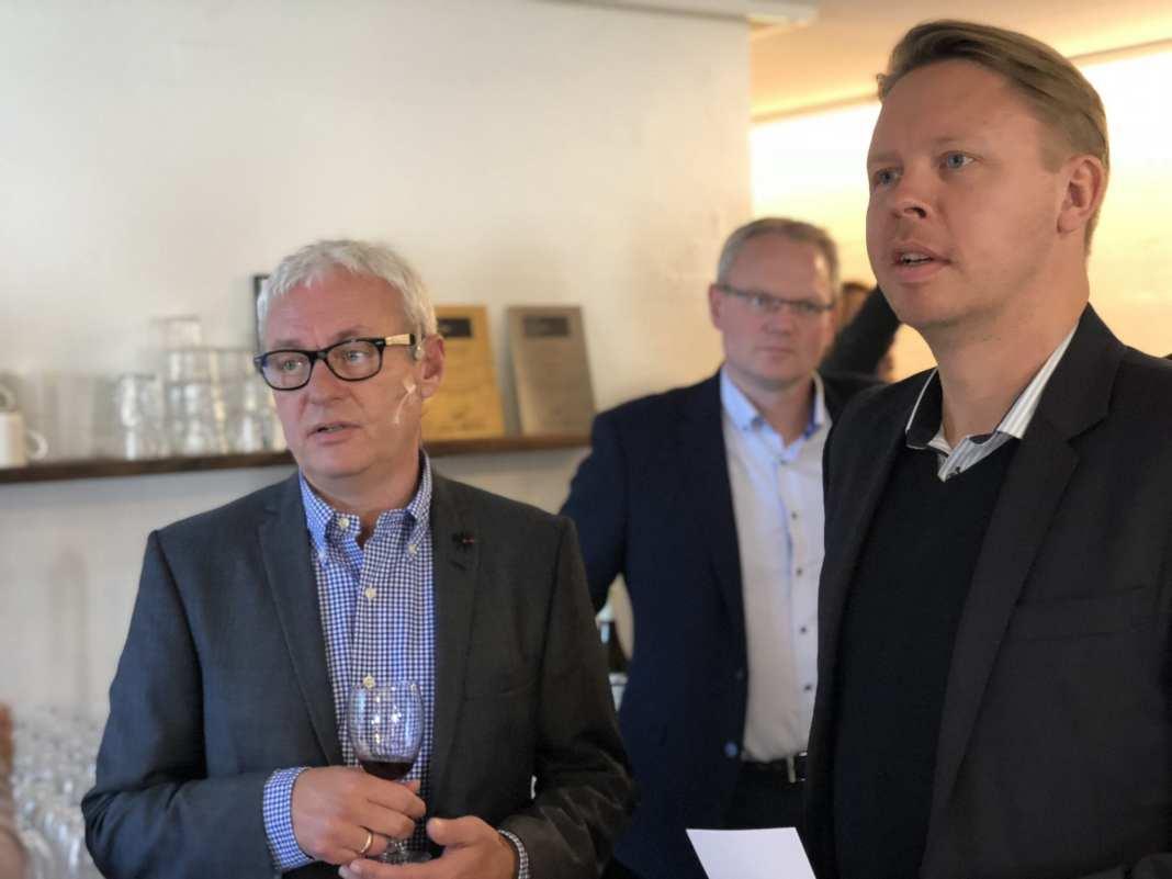 Grundlægger og Adm. Direktør Bernt Dahl og Borgmester Jacob Bjerregaard. Foto: Andreas Dyhrberg Andreassen, Fredericia AVISEN.