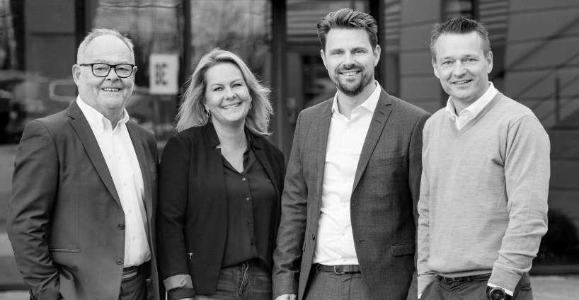 De fire advokater hos Kaiser Domino Advokatfirma er (fra venstre) advokat Klavs Kaiser, advokat Anette Lynggaard Holm, advokat/partner Jacob Schilling Jacobsen og advokat/partner Joe Domino.