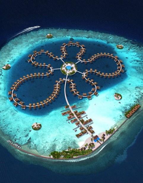 """""""Ocean flower"""". Projet de village flottant pour les îles Maldives."""