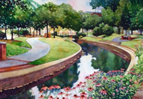 Canal on Carroll Creek - painting by Mick Williams