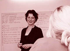 Tijdens een workshop Scherper Onderhandelen.