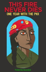 Cover of the book, black with the title in red and with the portrait of a woman with a a green uniform, long black hair and a red scarf around her head and small fires in her eyes, with a bright blue background.