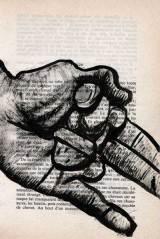 main, tête, encre sur livre, Saïssi