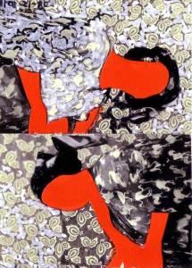 Africa rétro, collage et encre, Blaize