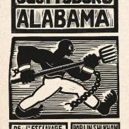 Scottsboro Alabama, linogravure, Khan, Perez