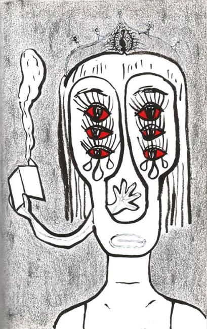 fumée, autoportrait, encre, Blaize