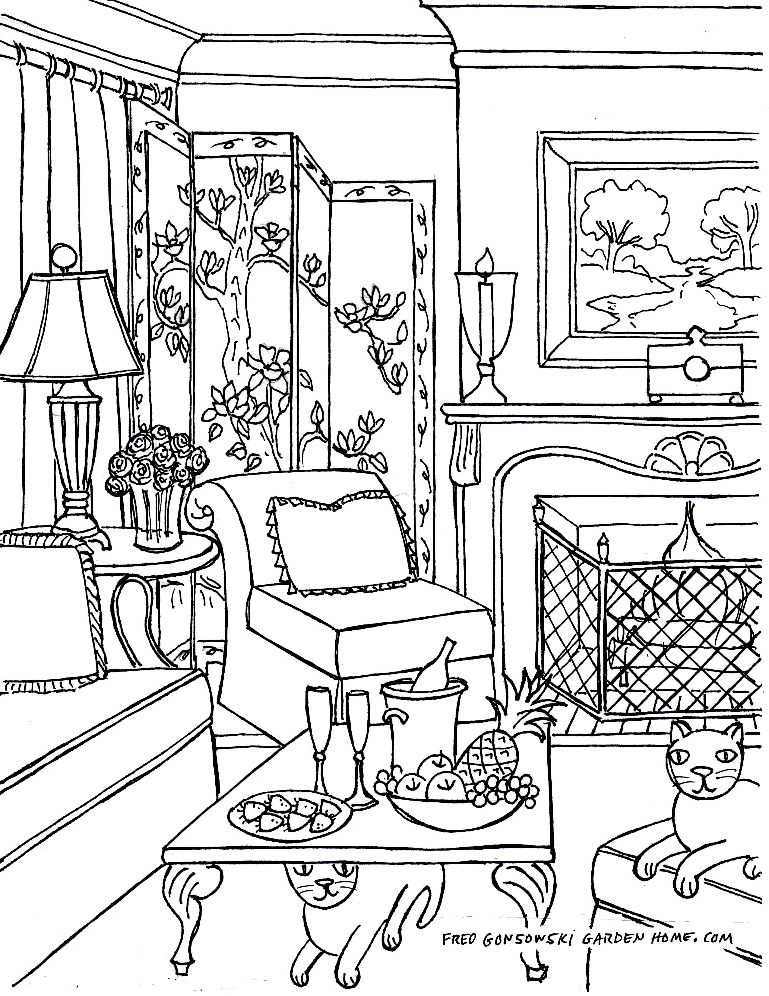 Coloring Pages For Adults Some Drawings Of Living Rooms For Adults To Color