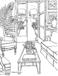 coloring living pages rooms adults drawings room adult drawing garden furniture books gonsowski fred