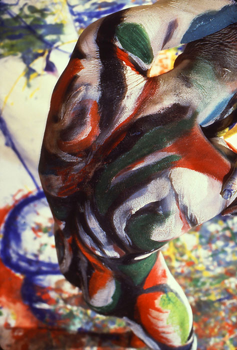 Sinew 18, 1992.  Bodypaint and photo by Fred Hatt.
